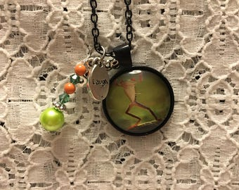 Happy Frog Charm Necklace/Dancing Frog Charm Necklace/Frog Jewelry/Frog Pendant/Frog Necklace/I Love Frogs Jewelry/I Love Frogs
