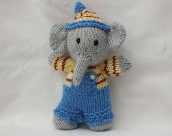 Hand Knitted Elephant, Handmade Traditional Christmas Gifts, Stuffed Small Soft Animals