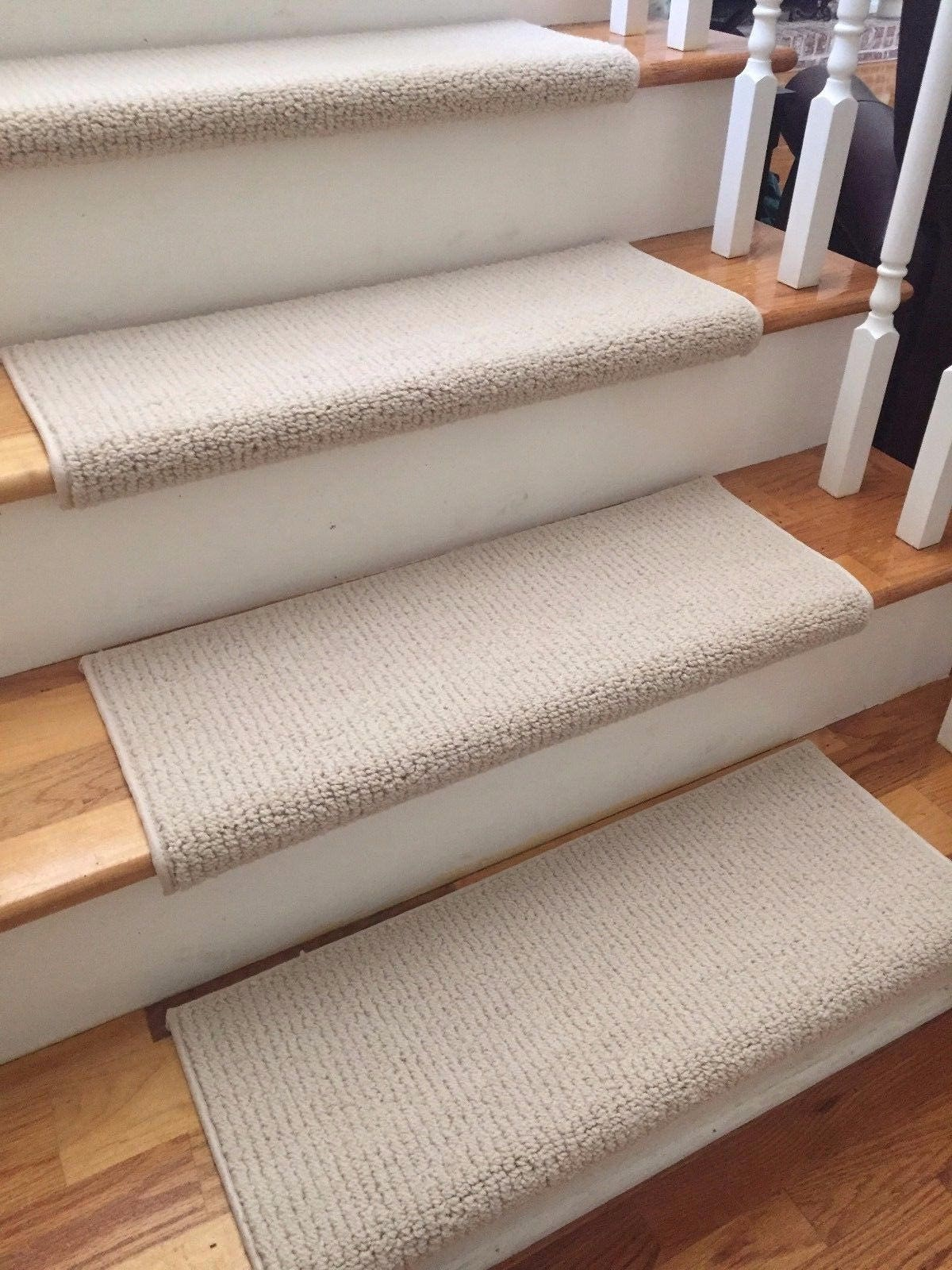 Laredo Corde Ivory New Zealand Wool! TRUE Bullnose™ Carpet Stair Tread  Runner Replacement For Style, Comfort And Safety (Sold Each)