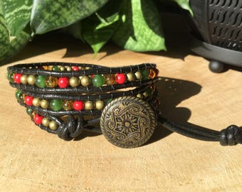 Bracelet wrap leather, citrine, red turquoise and jade