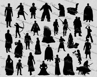 Digital SVG PNG game of thrones inspired, jon snow, targaryen, greyjoy, stark, lannister, clipart, vector, silhouette, instant download