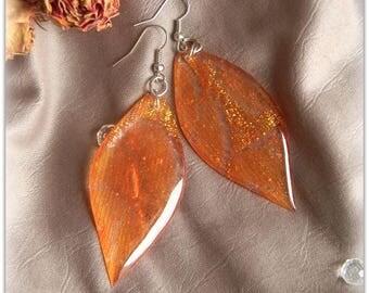 Earrings Long French Lace Earrings Jewelry Resin Orange Gold Earrings Woman Handmade Ornaments Valentine's Day Birthday Birthday Beloved