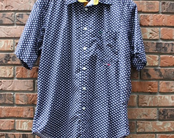 Vintage Tommy Hilfiger Stars Casual Short Sleeve Button up Shirt Men's Large