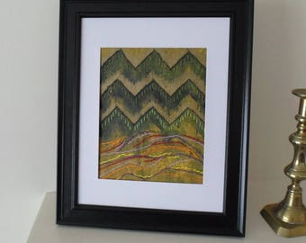 Mountain Landscape Abstract Art Mixed Media Original Artwork Not a Print Ready to Ship