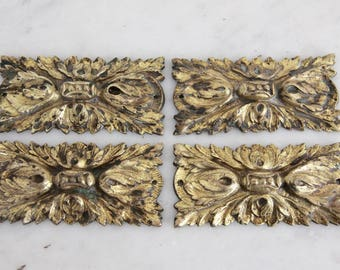 Antique French Gilded Bronze Furniture Ornaments, Set of 4, Antique Hardware, Furniture Pediment, Salvage Hardware
