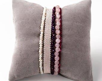 Bracelet 5 rows, gemstones, Crystal, freshwater pearls