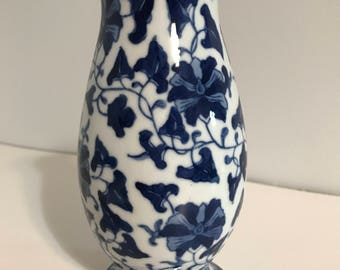 Vintage Blue and White Ceramic Vase- MINT