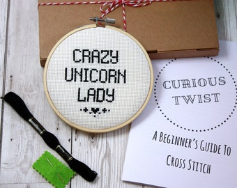 Crazy Unicorn Lady- Modern cross stitch kit- beginners counted cross stitch pattern- DIY instructions- funny cross stitch kit- gift for her