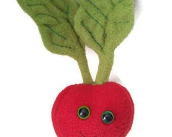Mr. Raddish plush, cute, vegtable, stuffed animal.