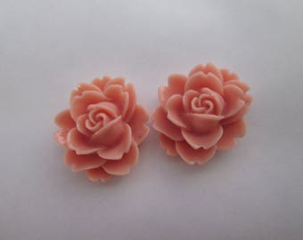 2 cabochons resin rose flower oval 20 x 18 mm