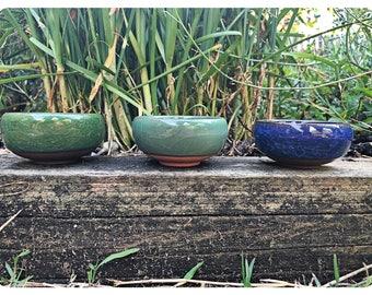 Set of 3 Handmade Mini Succulent / Cactus Pot Cracked Ceramic Decor Pot Planter or Vessel Wedding / Valentines Gift For Her
