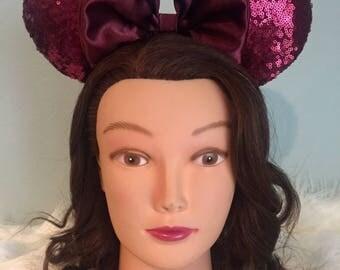 Burgundy Sequin Mickey Ears