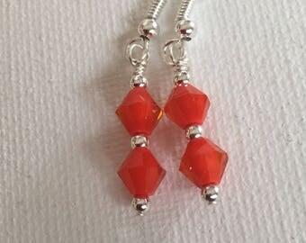 Red earrings. Read dangle earrings. Read drop earrings. Red BoHo earrings.