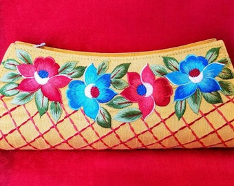 Embroidered clutch floral clutch embroidered evening bag floral evening bag India yellow gifts for her