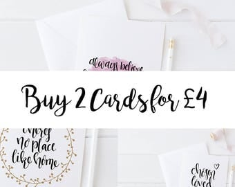 2 Greetings Cards Offer - Modern Calligraphy  - Special Off 20% Off - Lettering - Gifts for Her - Christian gifts - Cards -