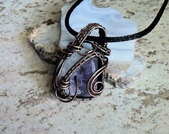 Banded Lavender and White Pendant