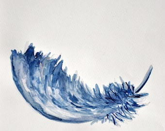 Reclining spring in watercolor/feather in watercolor/feather/Picture/drawing