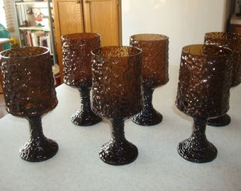 "Vintage 6 Lenox Crystal Nutmeg/Brown Impromptu 7"" Wine/Water Footed Goblets"