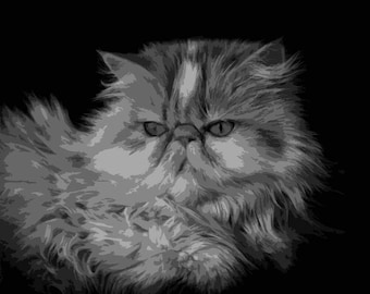 Persian, Cat, Layered Papercut Portrait, Papercutting Template, Pet Portrait, Commercial Use, Personal Use