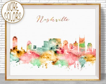Nashville Art Nashville Skyline Nashville Print Nashville Tennessee Office Decor City Skyline Prints  ArtPrintZone Christmas Gifts