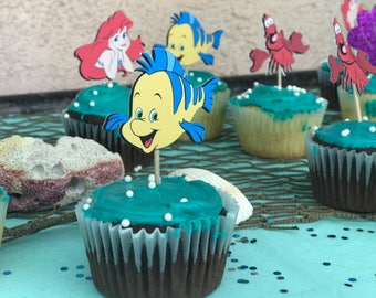 Little Mermaid Cupcake Toppers