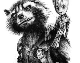 Rocket and Baby Groot A4 Art Print - Marvel Guardians of the Galaxy