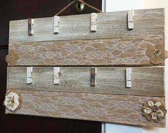 RUSTIC CLOTHESPIN FRAME Pallet Sign Picture Holder Display Clothes Pin Frame Rustic