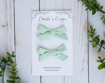 Mint Schoolgirl Bow, Pigtail Set, Baby Girl Hair Bow, Hand tied Schoolgirl Bows