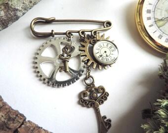 Bronze steampunk brooch: key, clock gears (silver, bronze)