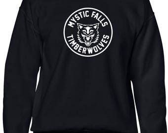 The Vampire Diaries inspired Black Crewneck Sweatshirt - Jumper - Pullover - Mystic Falls Timberwolves
