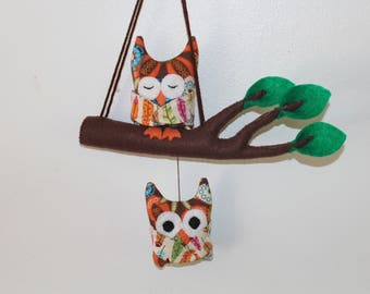 2 mobile owls, child's room decor