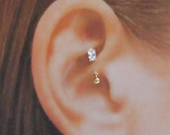 Gold Plated Daith Piercing Prung Set Oval cz Curved Barbell..16g..8mm..3mm ball