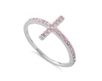 Sterling Silver Sideway Cross Pink, Purple (Amethyst) ,Blue (Sapphire),White (Diamond) CZ Religious Ring