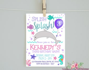 Dolphin Birthday Invitation/Girl birthday/ Dolphin Birthday/ Swim party