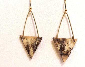 Triangle Birch Bark Earring