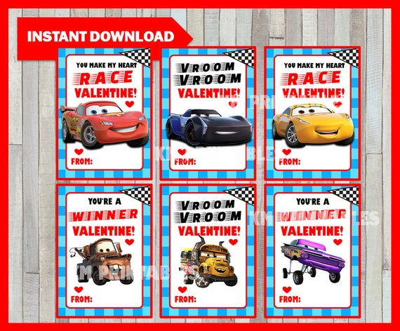 Printable Cars 3 Valentine's Cards - Funny Disney Cars Valentine cards, Instant Download