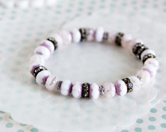 Boho bracelet, purple and white Czech glass beads, rhinestones