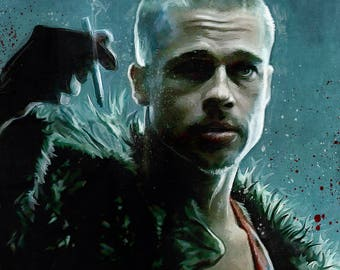 Painted Illustration Of Tyler Durden - As Played By Brad Pitt - From Fight Club As The Leader of Anarchy And Project Mayhem