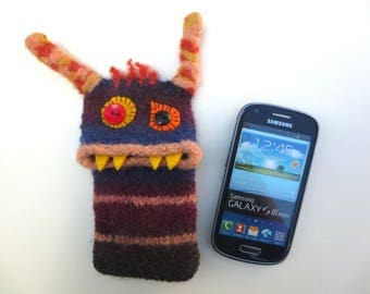 "Smartphone Monster ""Zita"" Handytasche, Monster, Samsung Galaxy S 3 mini, iPhone 4s, bag, felt, cover, knitted, felted"