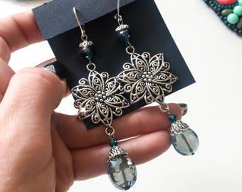 Boho jewelry, long earrings, bohemian earrings, statement earrings, boho earrings, romantic earrings, bridesmaid earrings, wedding earrings