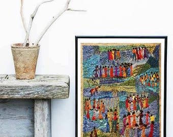 CIRANDEIRAS – Cirandeiras, Portinari Embroidery, Hand Embroidery, Textile Art, Colourful Giclee, Limited Edition Print, Wall Art.