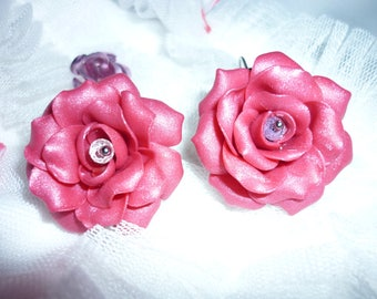 Earrings flowers, pink roses from polymer clay.