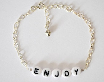 Silver bracelet GOURMETTE // Identity bracelet in 925 silver customizable with a word or first name of your choice