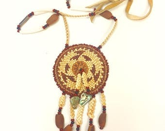 Vintage Native American Indian necklace, Yurok basket, American Indian basket necklace
