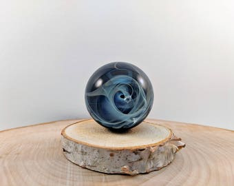Glass Marble, Boro Marble, Glass Orb, Art Marble, Fumed Marble, Collectible Marble, Handmade Glass Space Ocean, Vortex Marble, Meditation