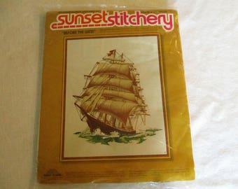 "Crewel Embroidery Kit, Sunset Stitchery ""Before The Wind"" Crewel Embroidery Kit, Ship Crewel Kit, ""Before The Wind"" Stitchery Kit, Ship Kit"