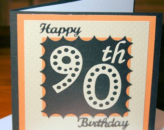 90th Birthday Card in Brown, Cumquat, Cream Pearlescent Card with Embossed layered detail, and comes with Handmade Envelope