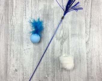 Cat toy pack | Kitten toy pack | Sparkle cat teaser | Cork & rabbit fur toss toy | Natural rabbit skin cat toys | Rattle ball | Toss toys