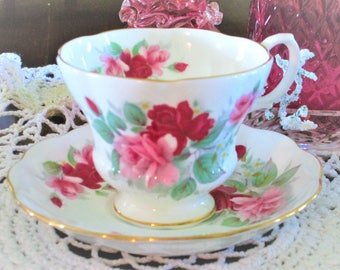Pink rose, Red and Pink rose, Royal Albert pink rose china cup, pink and red bone china teacup made in England