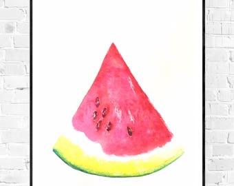 Original painting-watercolor painting-zen-melon melon fruit painting-still life-wall decor-melon painting-wallart